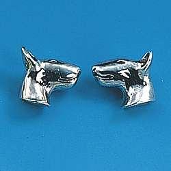 Ohrstecker Hunderasse Bullterrier in Silber und Gold