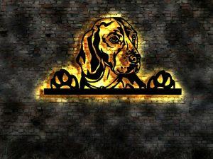Beagle 3D Wanddekoration aus Holz mit LED Licht