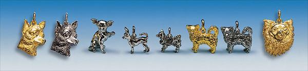 Schmuck Anhänger Motiv Chihuahua in Silber und Gold