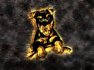 Hunde 3D-Effekt Leuchtbild Holz mit LED Licht