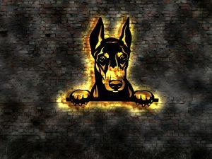 Dobermann Hund 3D LED Leuchtschild aus Holz Schild Deko