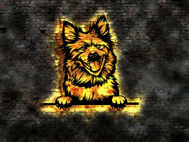 Eurasier Hund 3D-Effekt Wanddeko aus Holz mit LED Leuchte