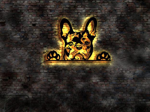 NEU Wand Deko 3 D Hund mit LED Licht