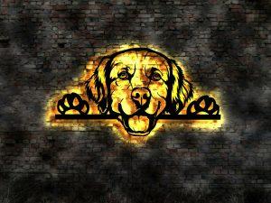 Golden Retriever Hund 3D-Wanddekoration Holz mit LED Licht