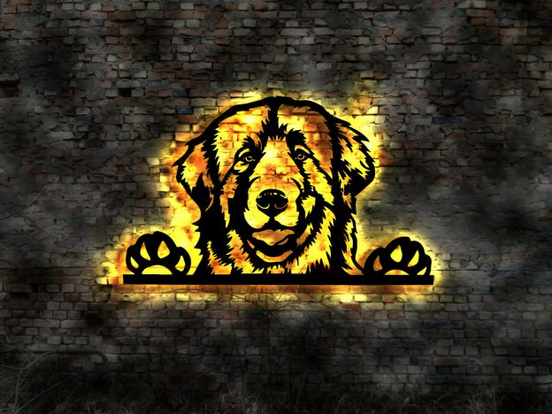 Hund 3D LED Wanddekoration aus Holz