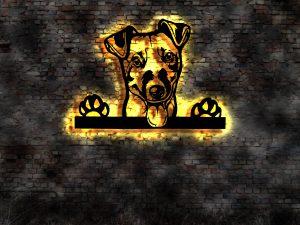 Jack-Russell-Terrier Hund 3D LED Leuchtschild aus Holz Schild Deko