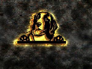 Landseer Hund 3D LED Leuchtschild aus Holz Schild Deko