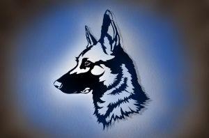 Schäferhund 3D Wandbild Holz mit LED Licht und Farbwechsel