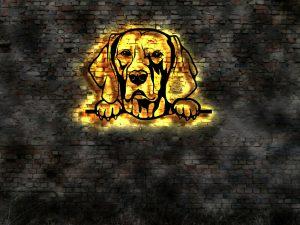 Weimaraner Hund 3D LED Leuchtschild aus Holz Schild Deko