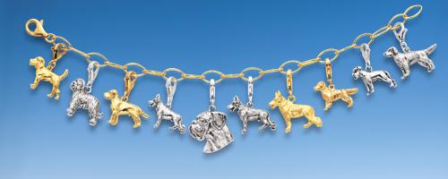 Charms Hundemotiv in Silber und Gold